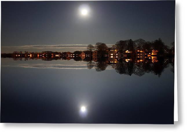 Moon Beach Greeting Cards - Super Moon Night    Greeting Card by Mark Ashkenazi