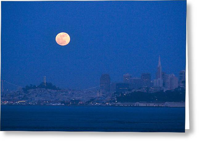 Downtown San Francisco Greeting Cards - Super Moon Of 2012 Over San Francisco Greeting Card by Scott Lenhart