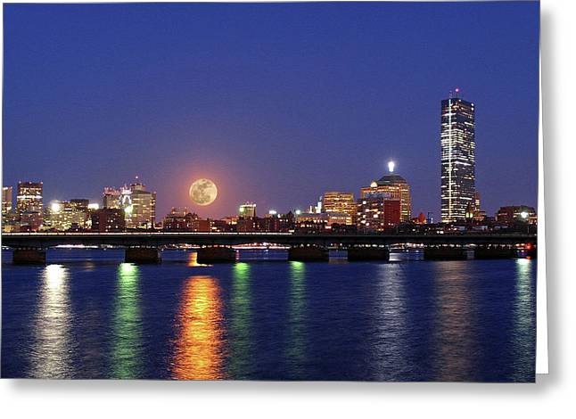 New England Lights Greeting Cards - Super Moon over Boston Greeting Card by Juergen Roth