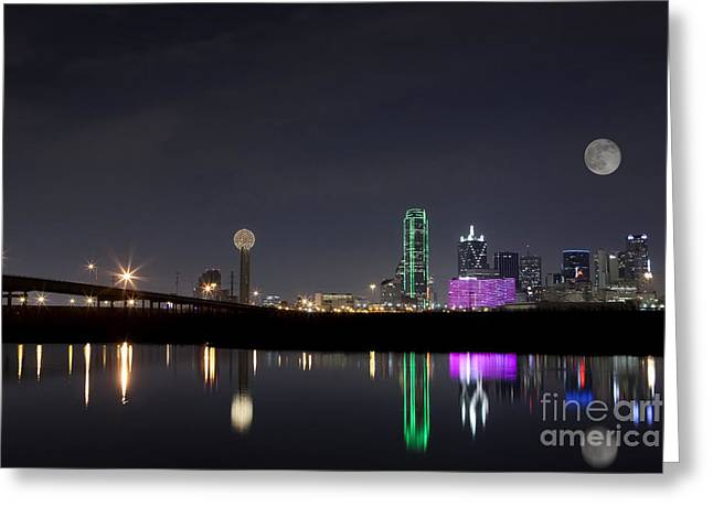 Gulf Coast States Greeting Cards - Super Moon over Dallas Skyline Greeting Card by Keith Kapple