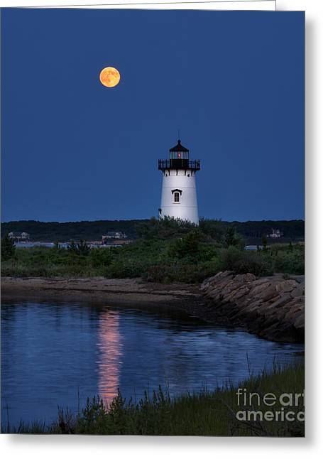 Sea Moon Full Moon Greeting Cards - Super Moon Over Edgartown Lighthouse Greeting Card by Mark Miller