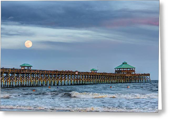 Super Moon Over Folly Greeting Card by Walt  Baker