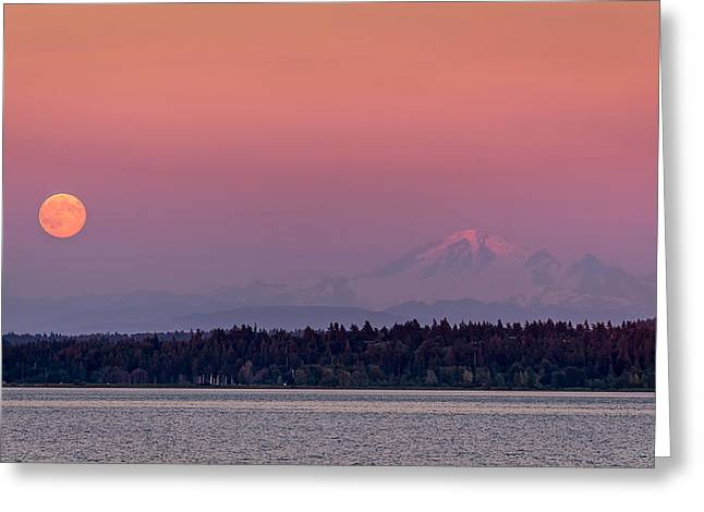 Super Volcano Greeting Cards - Super Moon over Mount Baker Greeting Card by Pierre Leclerc Photography
