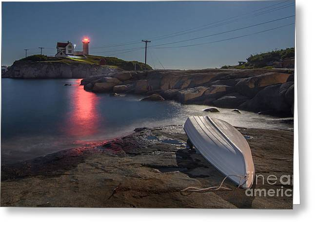 Cape Neddick Lighthouse Greeting Cards - Super Moon over Nubble Greeting Card by Scott Thorp