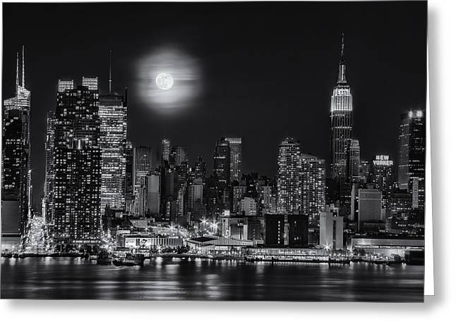 N.y. Greeting Cards - Super Moon Over NYC BW Greeting Card by Susan Candelario