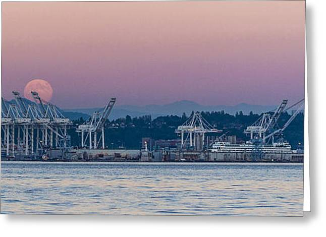Summer Greeting Cards - Super Moon Rise Panorama Greeting Card by Scott Campbell
