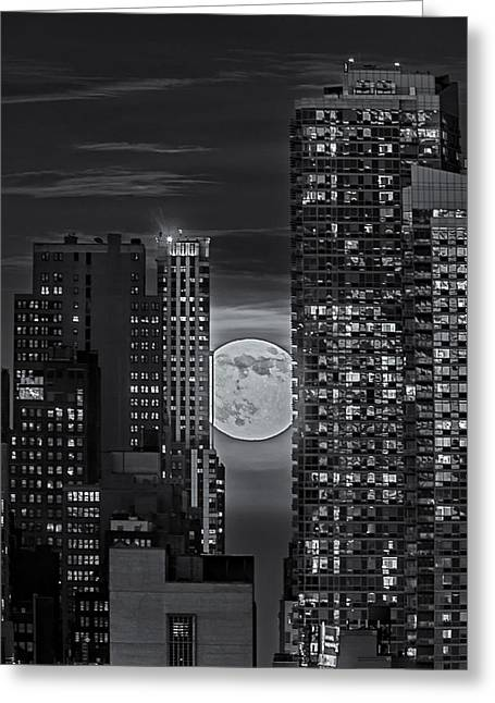 Super Moon Greeting Cards - Super Moon Rises Over The Big Apple BW Greeting Card by Susan Candelario