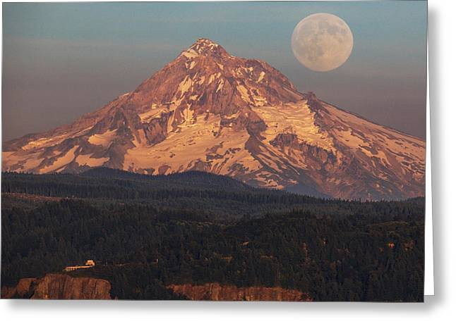 Haze Photographs Greeting Cards - Super Moon Rising Greeting Card by Angie Vogel