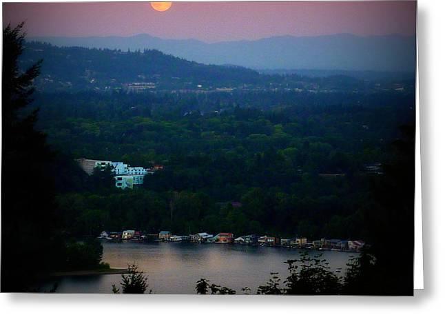 Super Moon River Greeting Card by Susan Garren