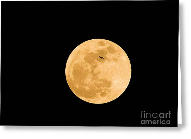 Large Moon Greeting Cards - Super Moon With Airliner Silhouette Greeting Card by Millard H. Sharp