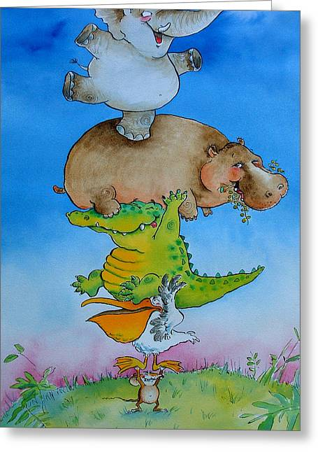 Hippopotamus Greeting Cards - Super Mouse Pen & Ink And Wc On Paper Greeting Card by Maylee Christie