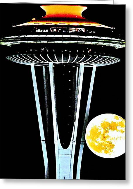 Moonrise Greeting Cards - Super Needle Greeting Card by Benjamin Yeager