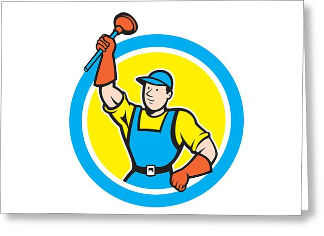 Plumber Greeting Cards - Super Plumber With Plunger Circle Cartoon Greeting Card by Aloysius Patrimonio
