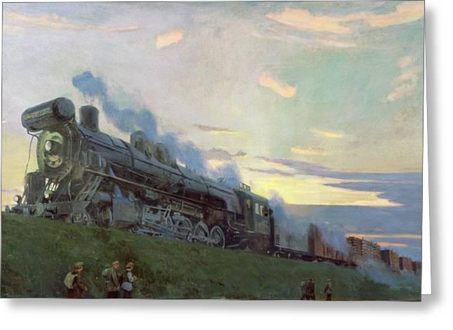 Cargo Train Greeting Cards - Super Power Steam Engine, 1935 Oil On Canvas Greeting Card by Arkadij Aleksandrovic Rylov
