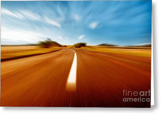 Organic Pyrography Greeting Cards - Super Speed Road Greeting Card by Boon Mee