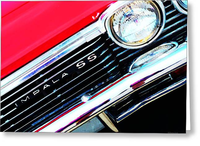 Chrome Greeting Cards - Super Sport 2 - Chevy Impala Classic Car Greeting Card by Sharon Cummings