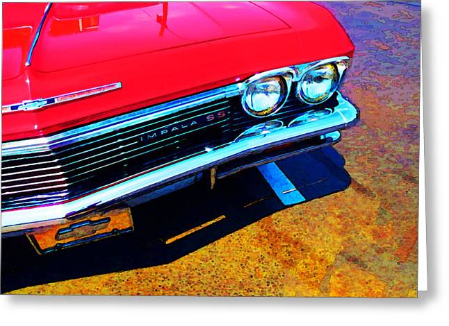 Chrome Greeting Cards - Super Sport 3 - Chevy Impala Classic Car Greeting Card by Sharon Cummings