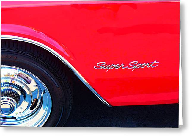 Chrome Greeting Cards - Super Sport - Chevy Impala Classic Car Greeting Card by Sharon Cummings