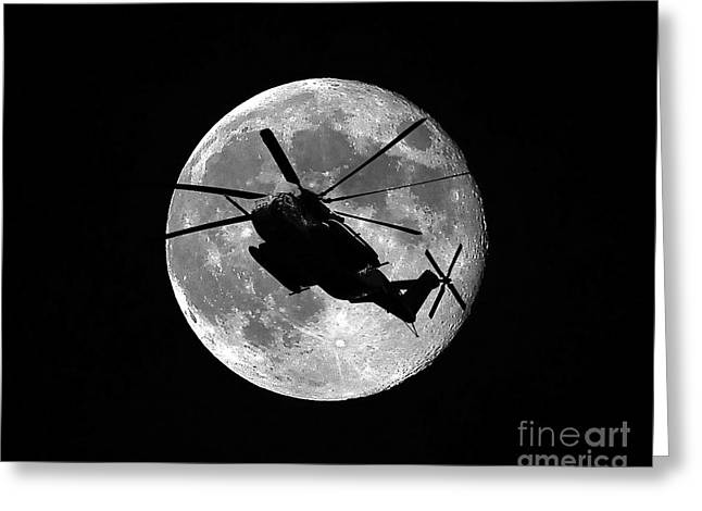 Helo Greeting Cards - Super Stallion Silhouette Greeting Card by Al Powell Photography USA