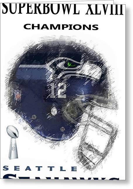 Winner Digital Art Greeting Cards - Superbowl 48 Champions Greeting Card by Daniel Hagerman