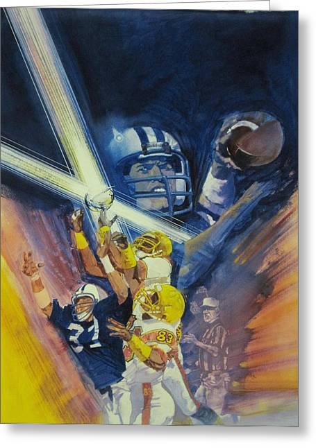 Pro Football Paintings Greeting Cards - SuperBowl Greeting Card by Chuck Hamrick