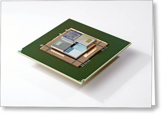 Supercomputer Microchip Stack Greeting Card by Ibm Research