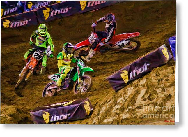 Supercross Greeting Cards - SuperCross Chad Reed Leads Andrew Short Cole Seely Greeting Card by Blake Richards