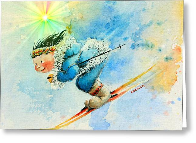 Ski Art Greeting Cards - SuperG Speed Greeting Card by Hanne Lore Koehler