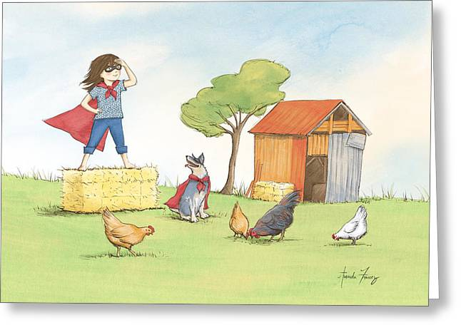 Cattle-shed Drawings Greeting Cards - Supergirl Greeting Card by Amanda Francey