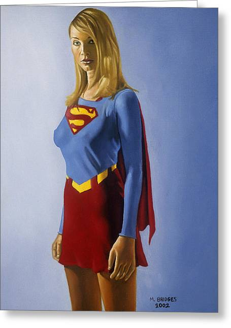 Comic Book Character Paintings Greeting Cards - Supergirl Greeting Card by Michael Bridges
