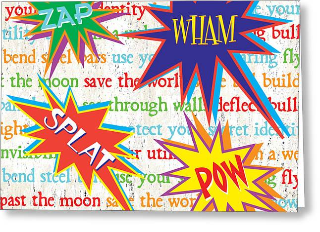Pow Greeting Cards - Superhero 1 Greeting Card by Debbie DeWitt