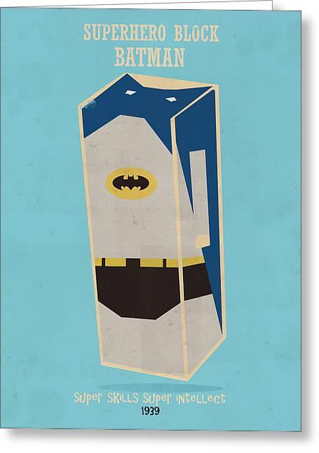 Batman Greeting Cards - Superhero Block Batman Greeting Card by Bri Buckley
