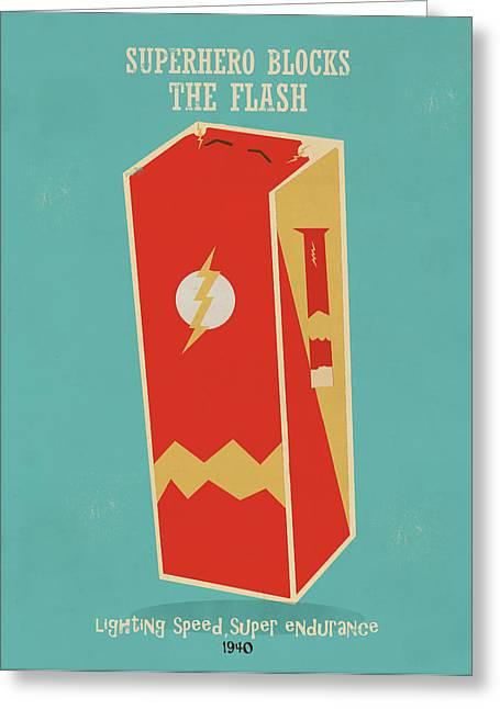 Superheroes Paintings Greeting Cards - Superhero Block The Flash Greeting Card by Bri Buckley