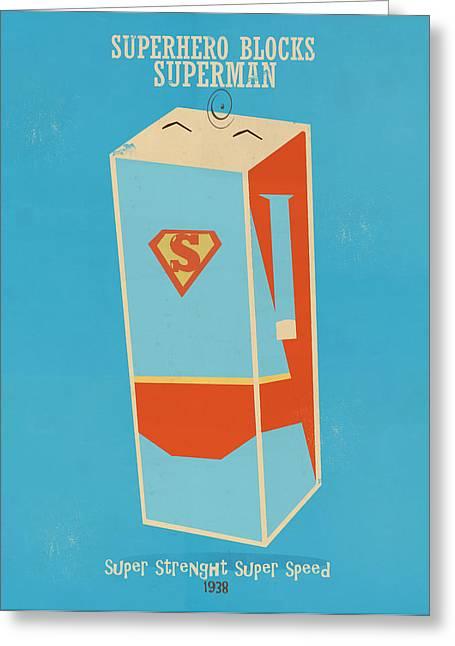 Superman Paintings Greeting Cards - Superhero Blocks Superman Greeting Card by Bri Buckley