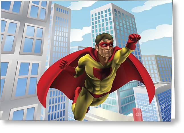 Heroic Red Men Greeting Cards - Superhero flying through city Greeting Card by Christos Georghiou