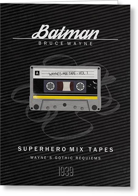 Cassettes Greeting Cards - Superhero Mix Tapes - Batman Greeting Card by Alyn Spiller