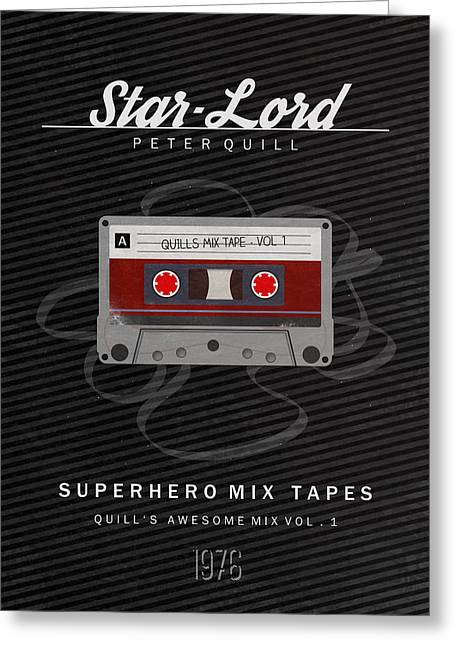 Cassettes Greeting Cards - Superhero Mix Tapes - Star-Lord Greeting Card by Alyn Spiller