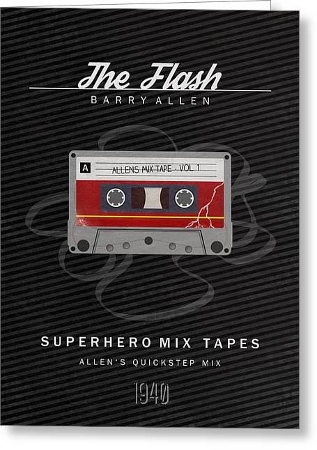 Flash Greeting Cards - Superhero Mix Tapes - The Flash Greeting Card by Alyn Spiller