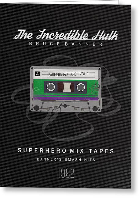 Cassettes Greeting Cards - Superhero Mix Tapes - The Incredible Hulk Greeting Card by Alyn Spiller