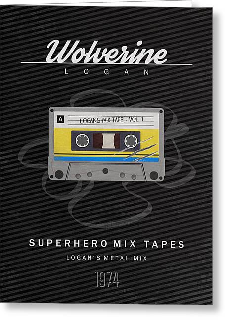Cassettes Greeting Cards - Superhero Mix Tapes - Wolverine Greeting Card by Alyn Spiller