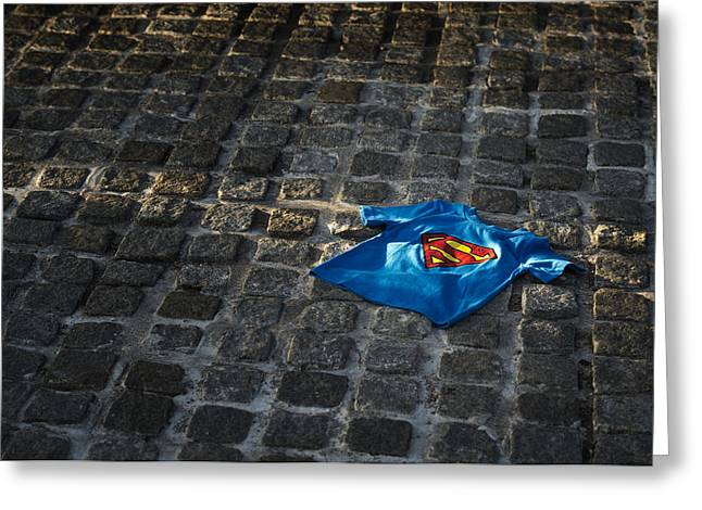 Thrown Away Greeting Cards - Superhero Greeting Card by Tim Gainey