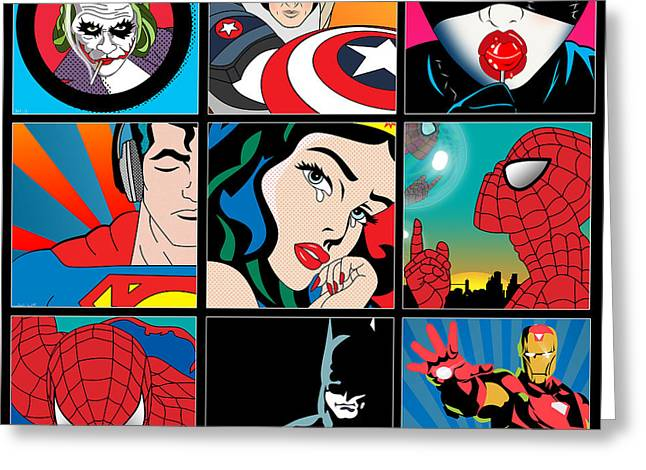 Funny Pop Culture Greeting Cards - Superheroes Greeting Card by Mark Ashkenazi