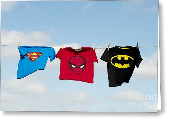 Shirt Greeting Cards - Superheroes Greeting Card by Tim Gainey