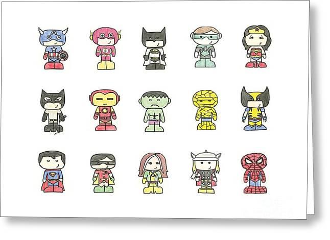 Green Lantern Greeting Cards - Superheros Greeting Card by Sarah St Pierre