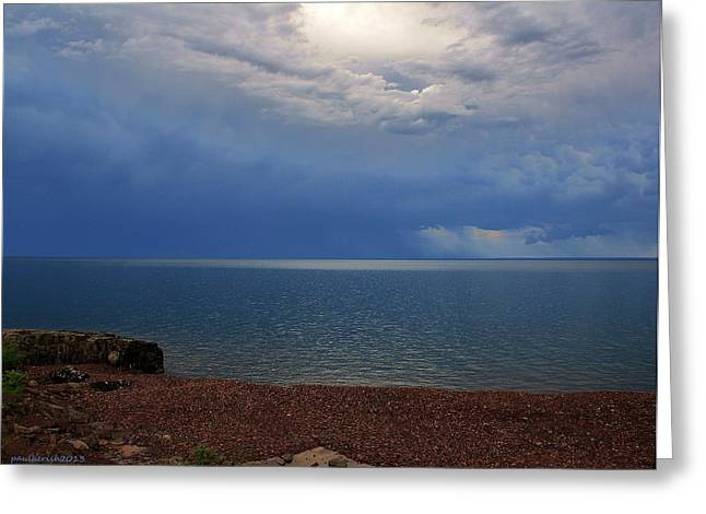 Agate Beach Greeting Cards - Superior Storm III Greeting Card by Paul Berish