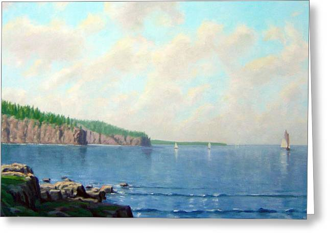 Park Scene Paintings Greeting Cards - Superior View Greeting Card by Rick Hansen