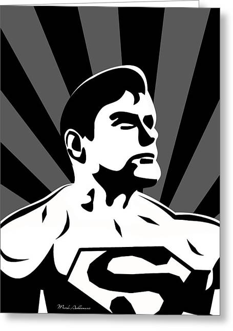 Funny Pop Culture Greeting Cards - Superman 5 Greeting Card by Mark Ashkenazi