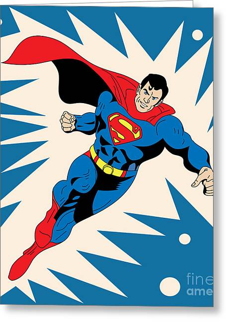 Funny Pop Culture Greeting Cards - Superman 8 Greeting Card by Mark Ashkenazi