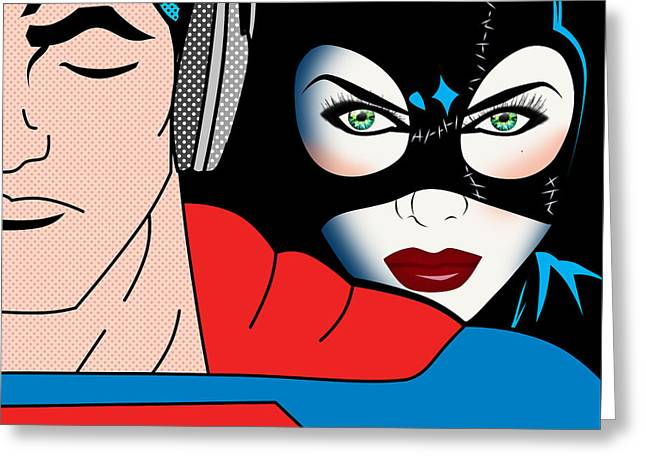 Funny Pop Culture Greeting Cards - Superman And Catwoman  Greeting Card by Mark Ashkenazi