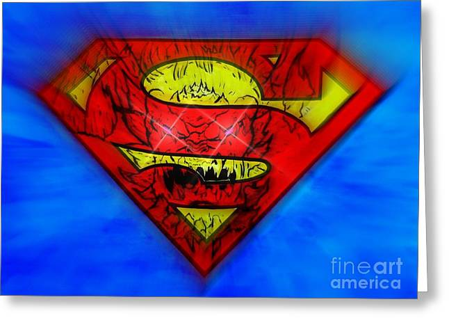 Pen And Ink Drawing Greeting Cards - Superman and Doomsday Greeting Card by Justin Moore